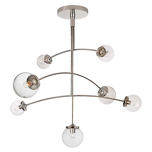 Prescott Large Mobile Chandelier, Nickel/Clear
