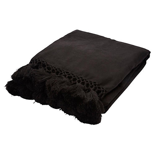 Pattern Tassel Acrylic Throw, Black