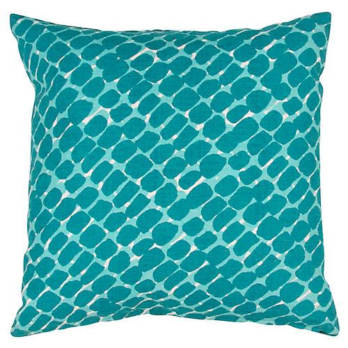 Yorkville 20x20 Tribal Pillow, Green/Blue Linen