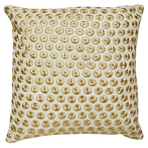 Yorkville 18x18 Tribal Pillow, Gold/Neutral Linen