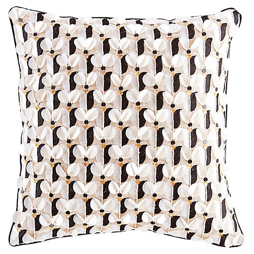 Yorkville 18x18 Square Pillow, White/Brown Linen