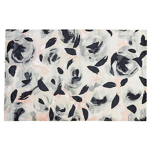 Floral & Leaves Rug, Gray/Multi