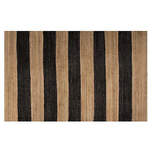 Stripes Jute-Blend Rug, Black