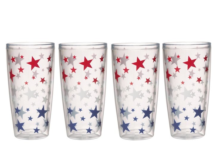 S/4 Stars Insulated Tumblers, 24 Oz