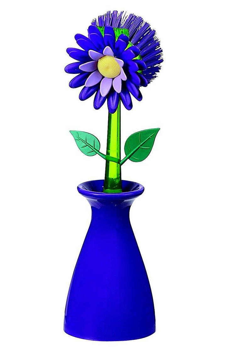 Flower Kitchen Brush w/ Holder, Plum