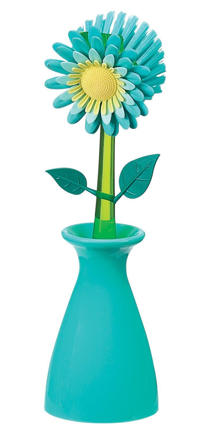 Flower Kitchen Brush w/ Holder, Blue