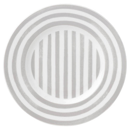 Charlotte Street North Salad Plate, White/Gray