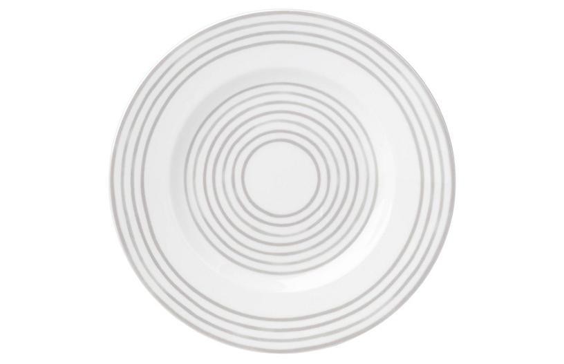 Charlotte Street West Salad Plate, White/Gray