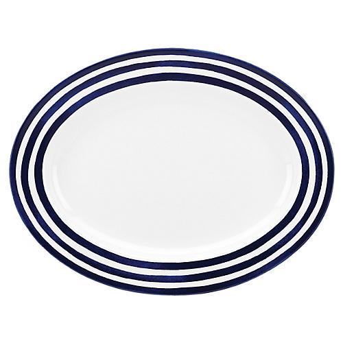 Charlotte Street Oval Platter, White/Blue