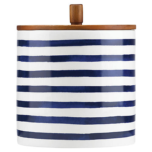 Charlotte Street Striped Canister, Blue/White
