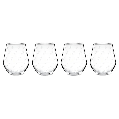 S/4 Larabee Dot White-Wine Glasses, Clear