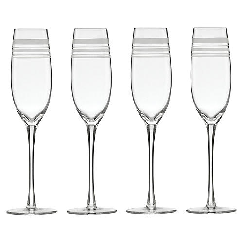 S/4 Library Stripe Flutes, Clear