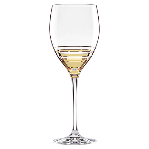 Hampton Street Goblet, Clear/Gold