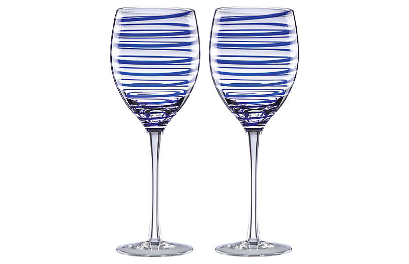 S/2 Charlotte Street Wineglasses, Clear/Blue
