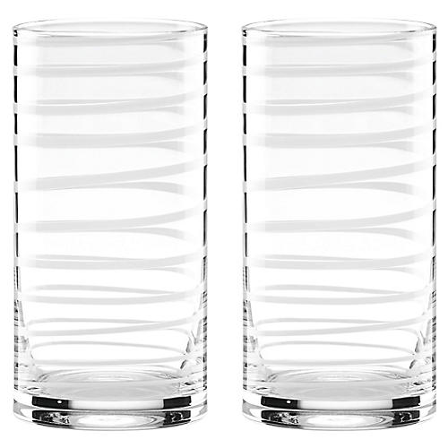 S/2 Charlotte Street Highball Glasses, Clear/White