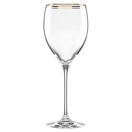Orleans Square Goblet, Clear/Gold