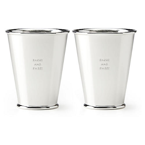 S/2 Two-of-a-Kind Dessert Cups, Silver