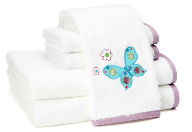 6-Pc Butterflies Embroidered Towel Set