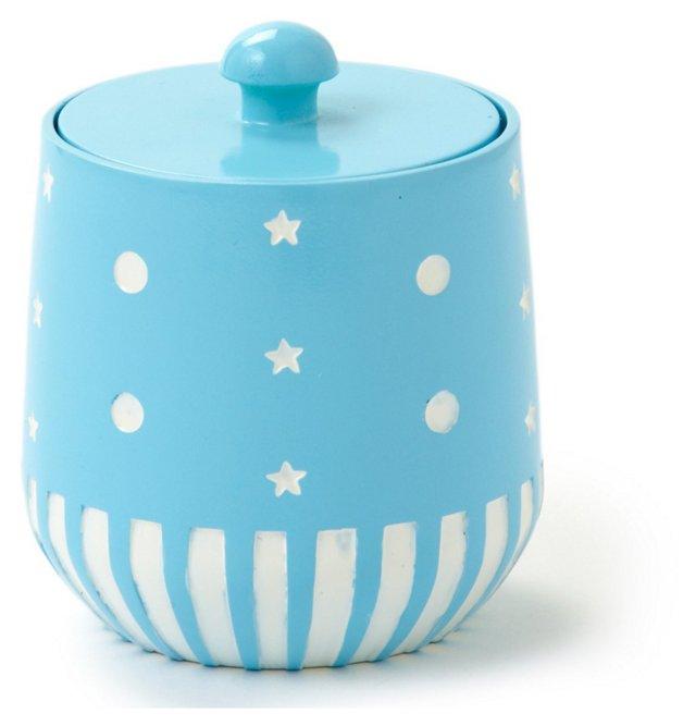 Stars &  Dots Cotton Jar, Blue
