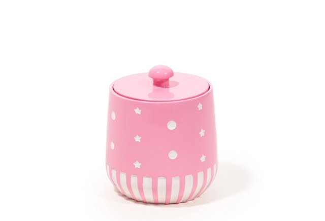 Stars & Dots Cotton Jar, Pink
