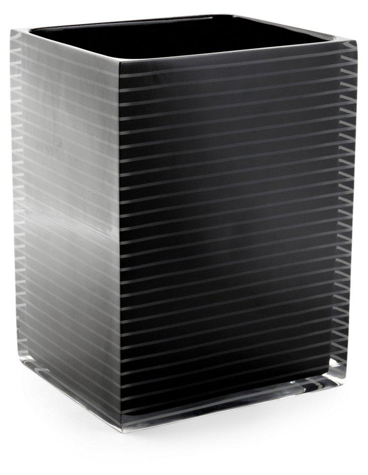 Mar-A-Lago Striped Wastebasket, Black