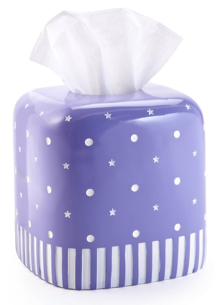 Stars & Dots Tissue Holder, Purple