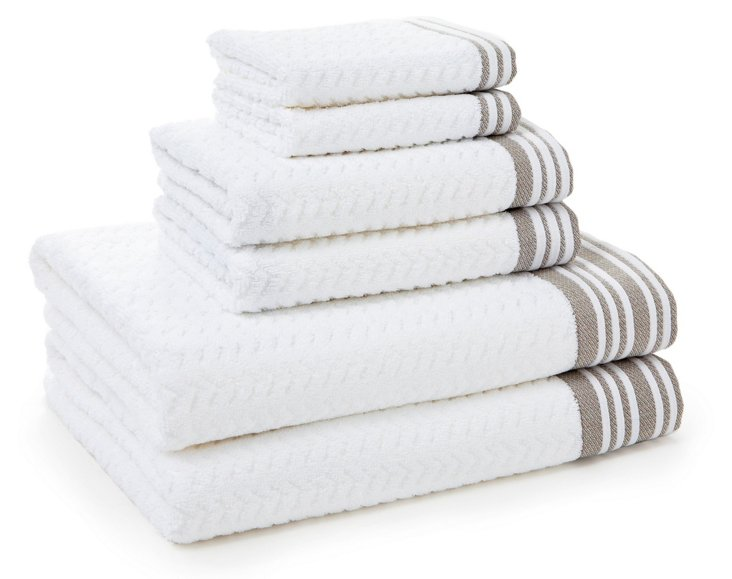 6-Pc Provence Towel Set, Linen