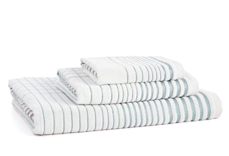 3-Pc Crosby Towel Set, Surf Blue
