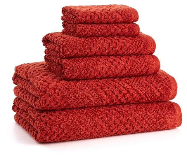 6-Pc Chateau Towel Set, Terracotta