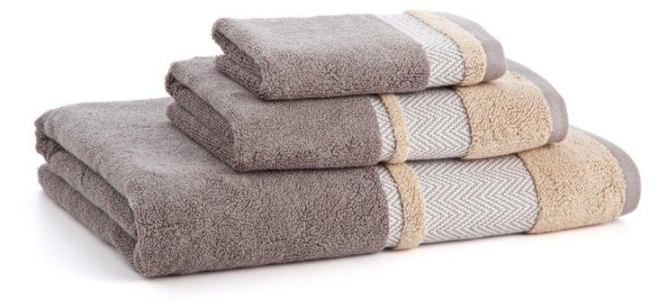 3-Pc Savile Towel Set, Pewter