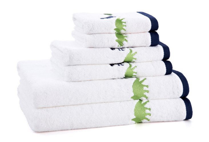 6-Pc Dino Embroidered Towel Set