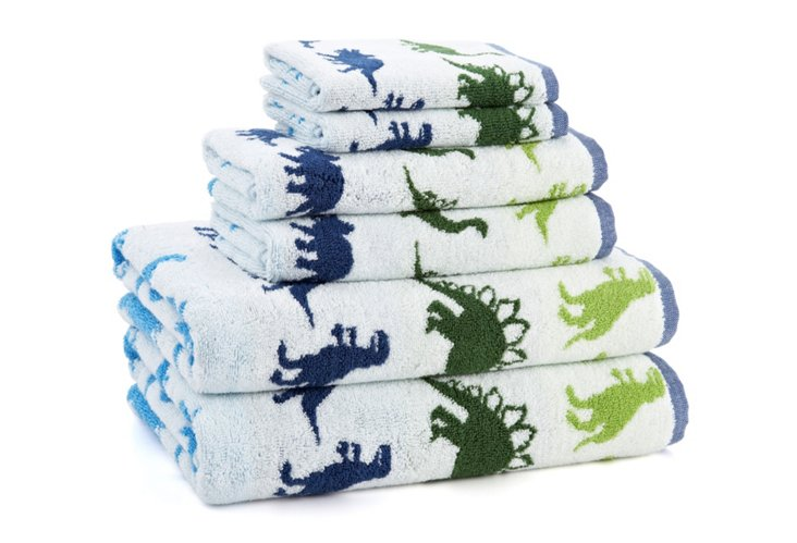 6-Pc Dino Park Bath Set, Blue/Green