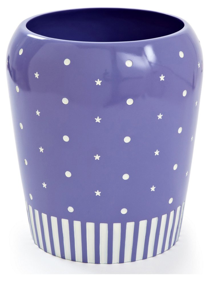 Stars, Lines, & Dots Wastebasket, Purple
