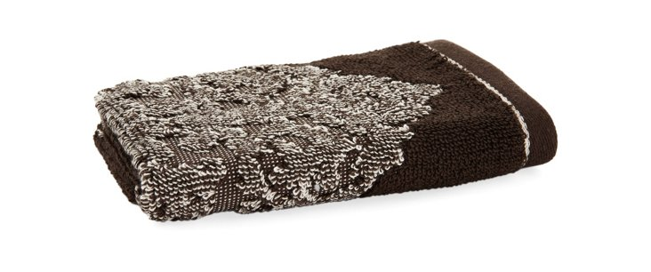 S/4 Medallion Washcloths, Espresso