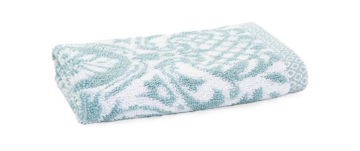 S/4 Damask Stripe Washcloths, Blue Glass