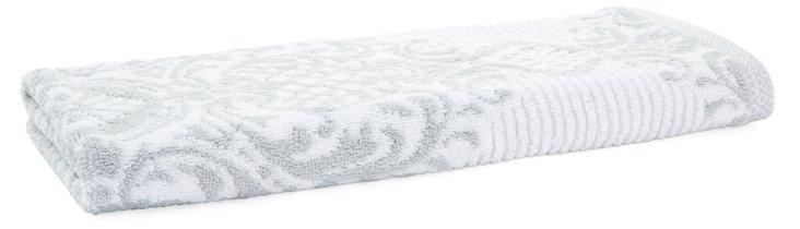 S/2 Damask Stripe Hand Towels, Fog