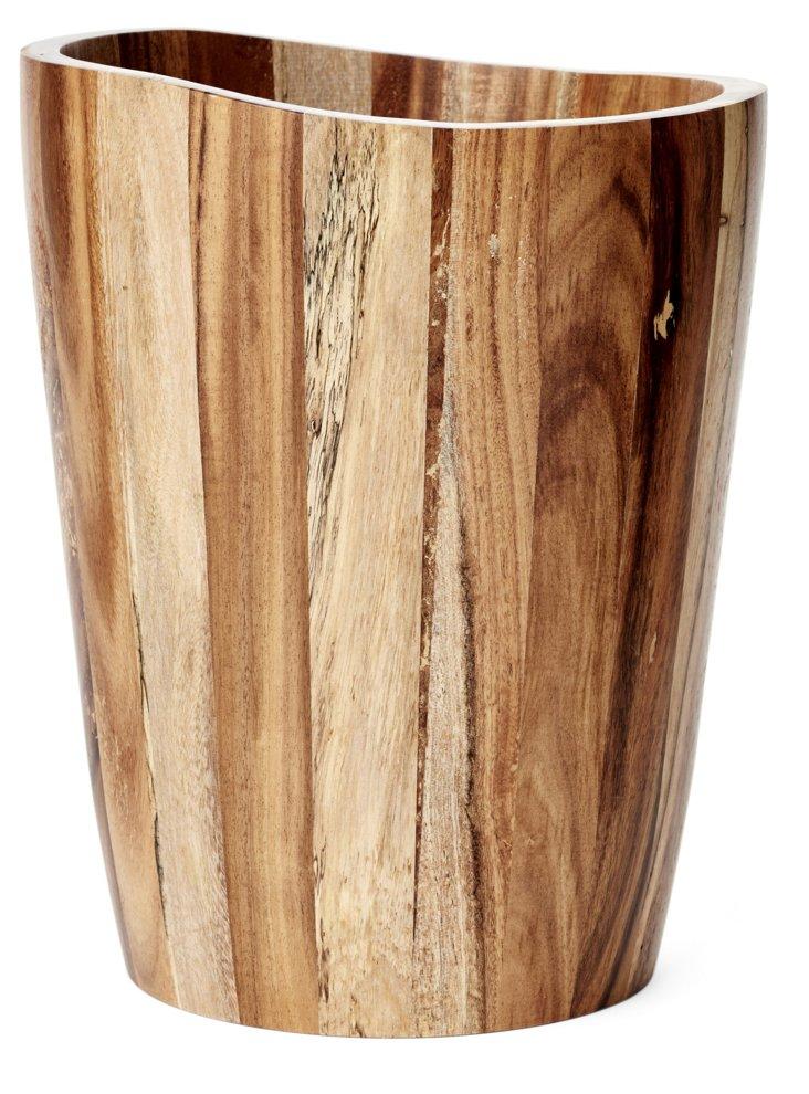 Acacia Wood Waste Bin, Natural