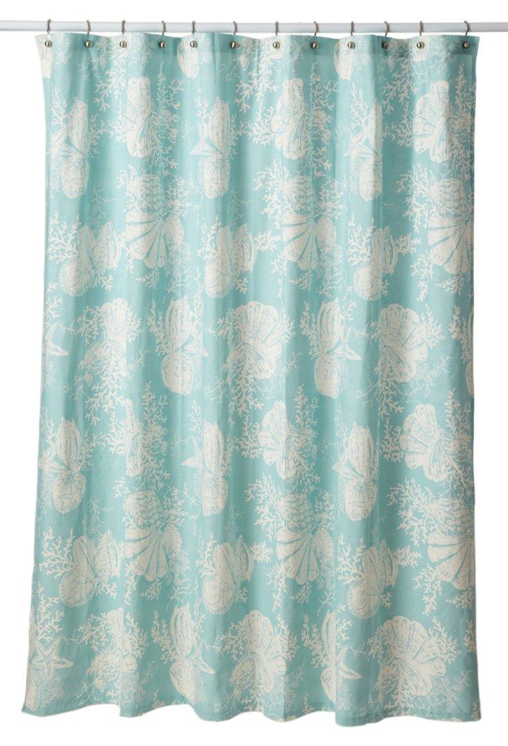 Cortina Shells Shower Curtain, Sea Mist