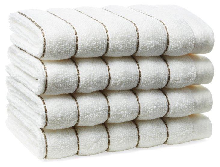 S/4 Mar-A-Lago Towel Washcloths, Bark