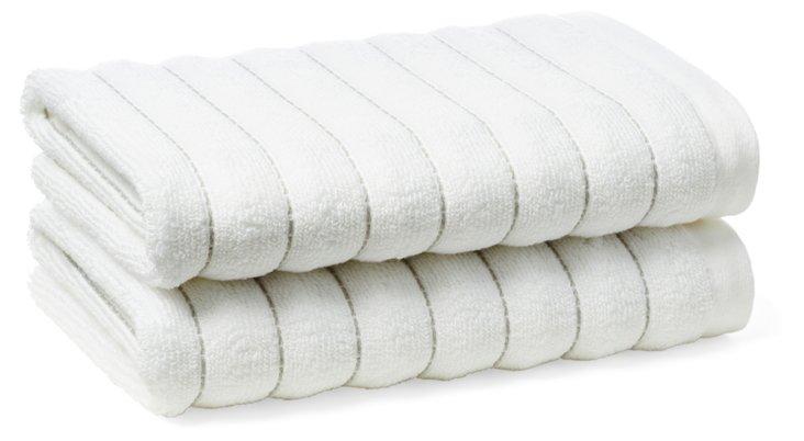 S/2  Mar-A-Lago Hand Towels, Tile Gray