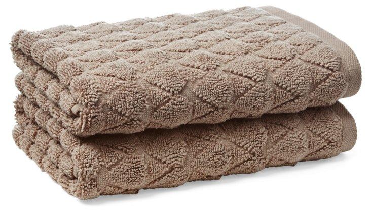 S/2 Bristol Hand Towels, Mink