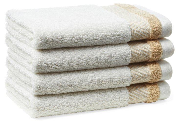 S/4 Savile Washcloths, Arctic