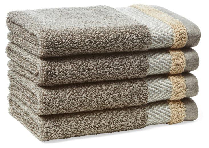 S/4 Savile Washcloths, Pewter