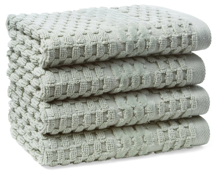 S/4 San Marco Washcloths, Fern