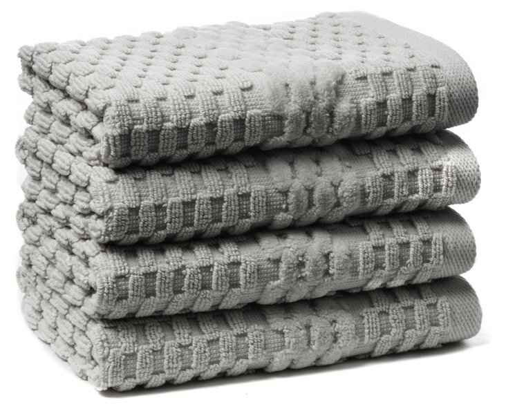 S/4 San Marco Washcloths, Oxford Gray