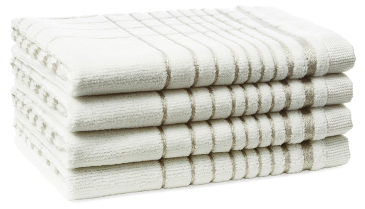 S/4 Crosby Washcloths,  Silver
