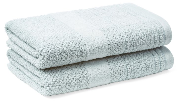 S/2 Textures Hand Towels, Seaglass