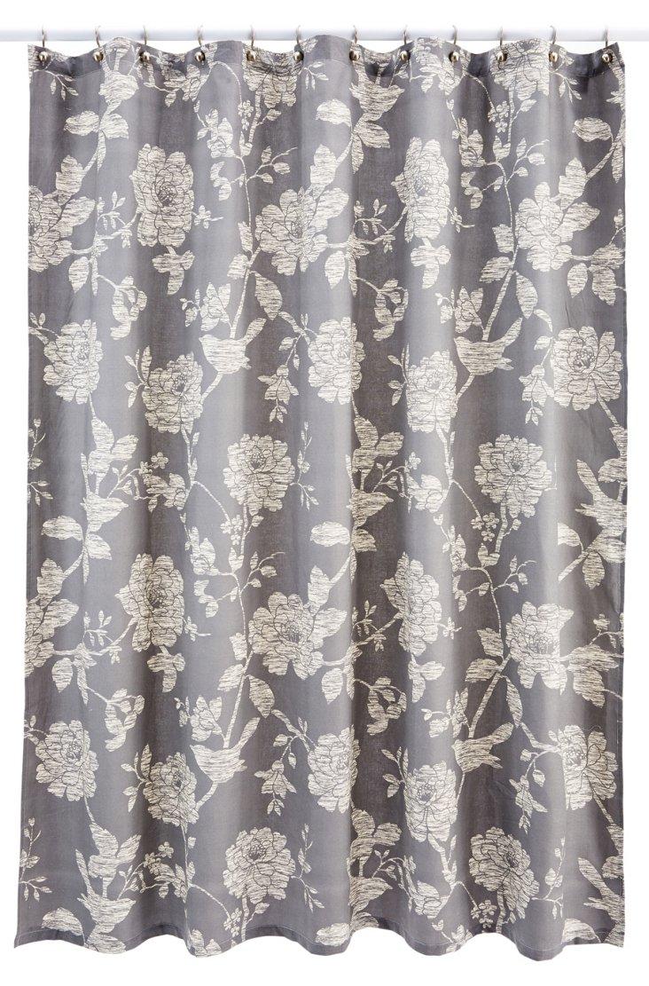 Cortina Bliss Shower Curtain, Gray/Beige