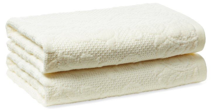 S/2 Parisian Hand Towels, Pearl