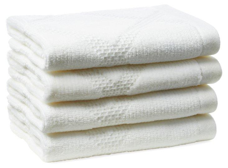 S/4 Parisian Diamond Washcloths, White